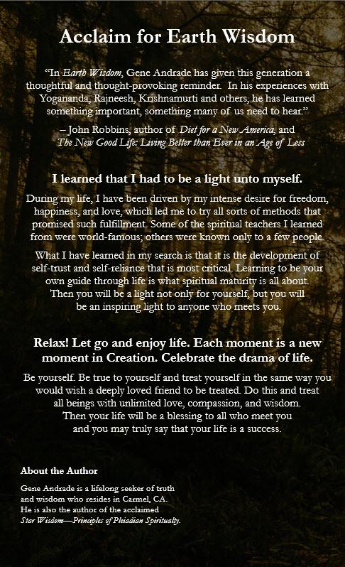 Earth Wisdom Book Back Cover